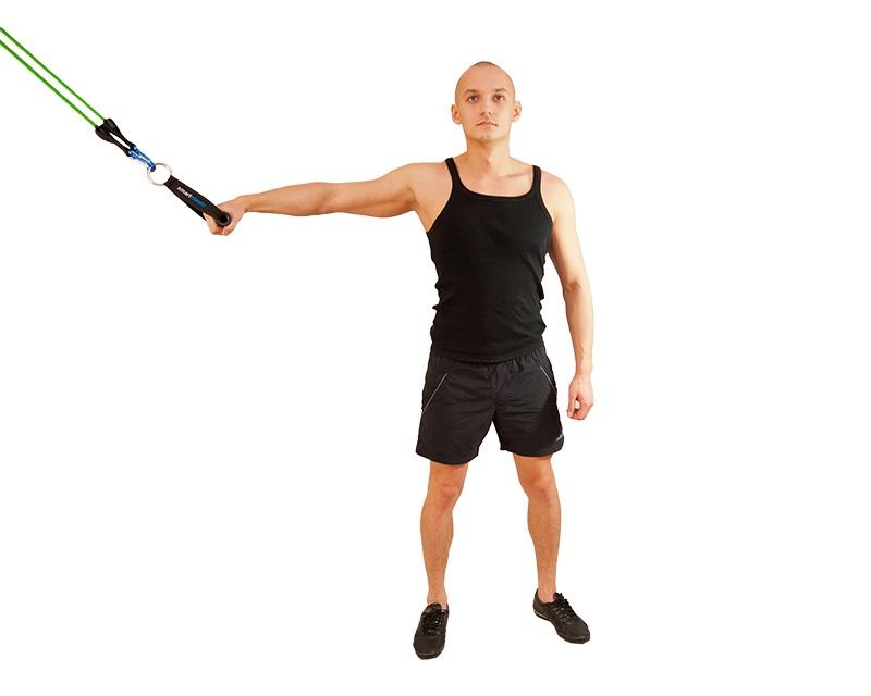 Упражнения с эспандером для мышц спины. Тяга эспандера прямой рукой. Широчайшие мышцы спины.